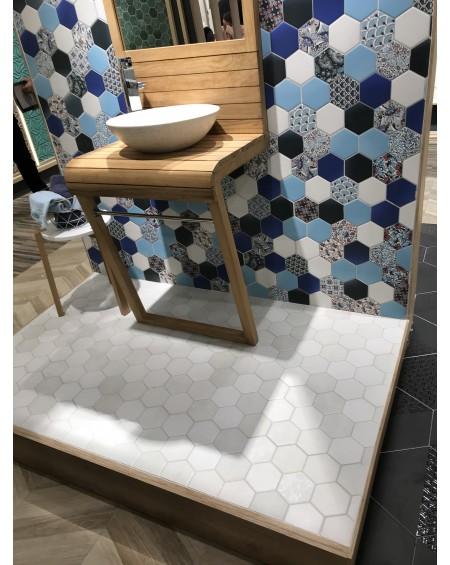Dlažba obklad hexagon polomatná modrá hex 28 Novelau Blue 26,5x51 cm cm výrobce Realonda šestihran