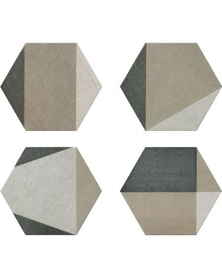 dlažba obklad prostorový hexagon geometrických vzorů hex28 Hextangram Fabric Taupe šestihran
