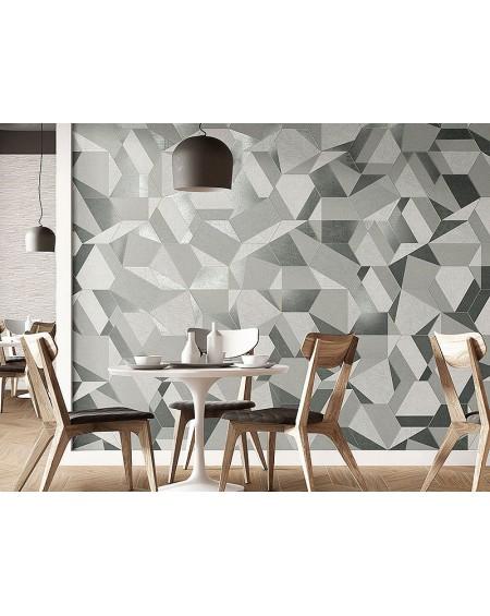 dlažba obklad prostorový hexagon geometrických vzorů hex28 Hextangram Fabric Grey šestihran