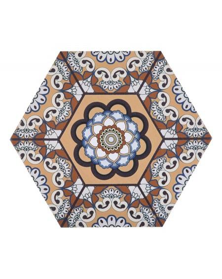 dlažba obklad vzoru rozeta hexagon hex 28 Sevres Marron 28,5x33 cm výrobce Realonda šestihran