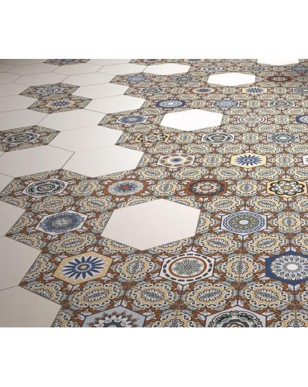 dlažba obklad vintage vzor rozeta hexagon Hex 28 Sevres Marron 28,5x33 cm šestihran