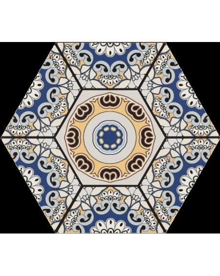 dlažba obklad vintage vzor rozeta hexagon Hex 28 Sevres Azul 28,5x33 cm šestihran
