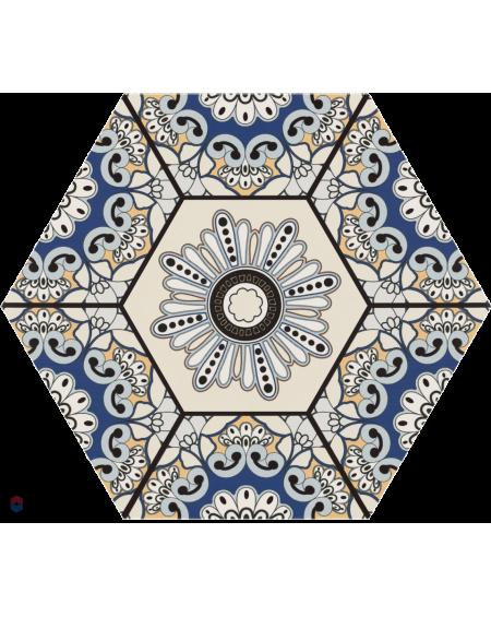 dlažba obklad modrá vintage vzor rozeta hexagon Hex 28 Sevres Azul 28,5x33 cm šestihran