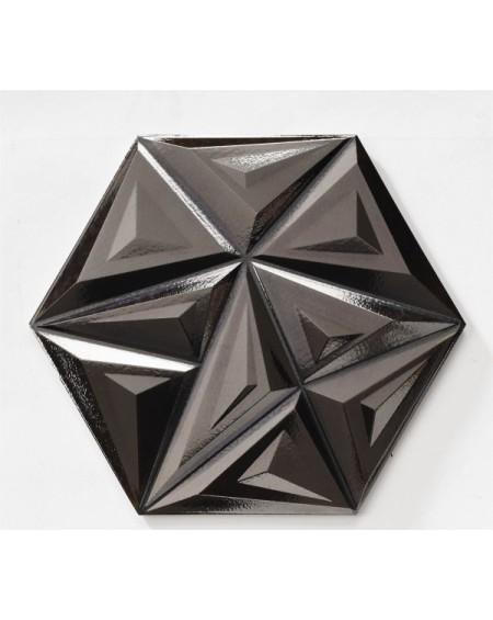 obklad černý geometrických vzorů hexagon hex 28 Yara Metal Black 28,5x33cm výrobce Realonda šestihran