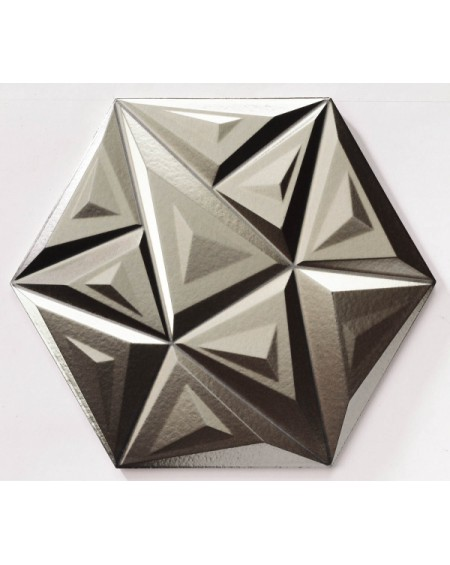 obklad imitující kov geometrických vzorů hexagon hex 28 Yara Metal Silver 28,5x33cm výrobce Realonda šestihran