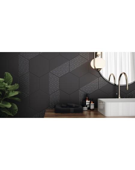 dlažba obklad hexagon Opal Negro Deco Black 28,5x33 cm výrobce Realonda šestihran
