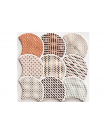 Patchwork dlažba obklad ve tvaru rybí šupiny Scale Gloss Patchwork 30,7x30,7 cm