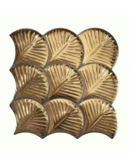zlatá dlažba obklad ve tvaru rybí šupiny Scale Shell Gold 30,7x30,7 cm