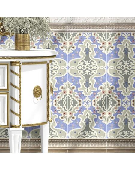 obklad azzurro pastelová modrá vintage Amman Deco Blue 31x56 cm výrobce realonda koupelny