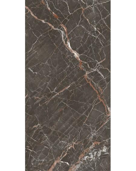 dlažba obklad lesklý imitující hnědý mramor brown Ombra di Caravaggio Glossy120x120 cm ultra slim 6,5mm