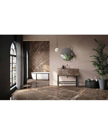 dlažba obklad pololesklý imitující hnědý mramor brown Ombra di Caravaggio Honed 60x120 cm ultra slim 6,5mm