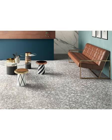 dlažba obklad velkoformátový imitující leštěný granit Shards large grey 120x120 cm
