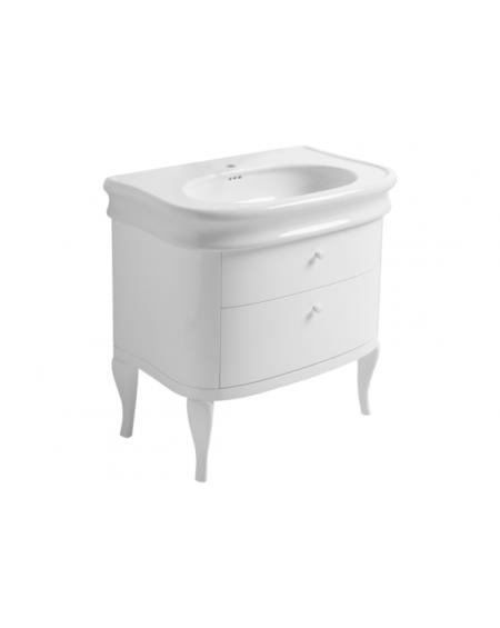 keramické umyvadlo s Bílou skříńkou Lante LA 11 WHITE 90 cm bílé retro vintage