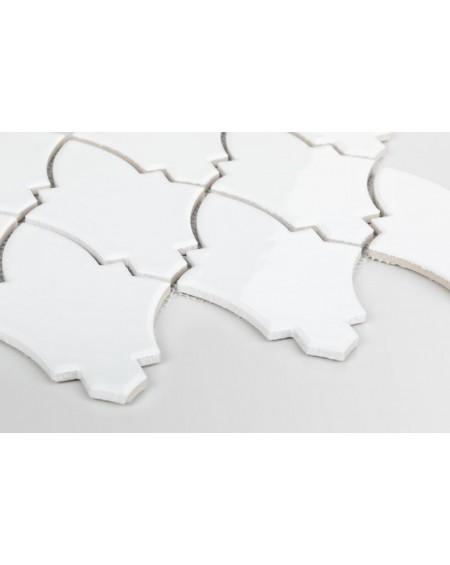 dlažba obklad mozaika ve tvaru štítu barva bílá lesk Shield white l