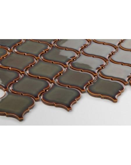 arabeska mozaika jaderské moře tmavá hnědá 6x6,6 cm