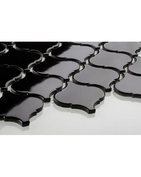 arabeska mozaika černá lesklá 6x6,6 cm