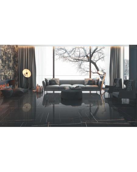 dlažba imitující černý mramor Sahara Noir 80 x180 cm Lappato
