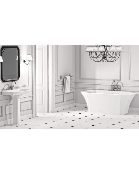 Koupelnový set z litého mramoru retro vintage La Donna 165 konglomerát mramoru Durocoat ® super white mate / brilo
