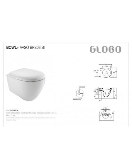 Závěsný klozet serie Bowl+ BPS03.BI - 38x50cm výrobce Globo