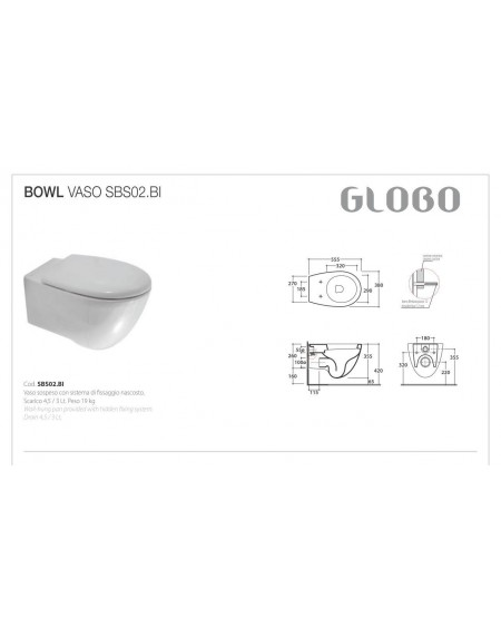 Závěsný klozet serie Bowl+ SBS02.BI - 38x55cm výrobce Globo