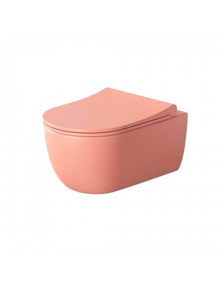 Závěsná barevná toaleta v barvě pure coralo