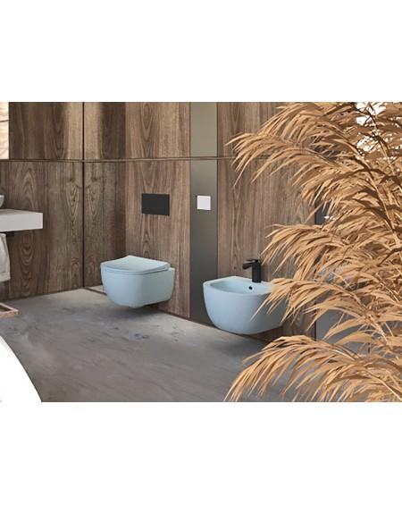 Závěsná barevná toaleta pure v barva blankytná modrá pastelová matná