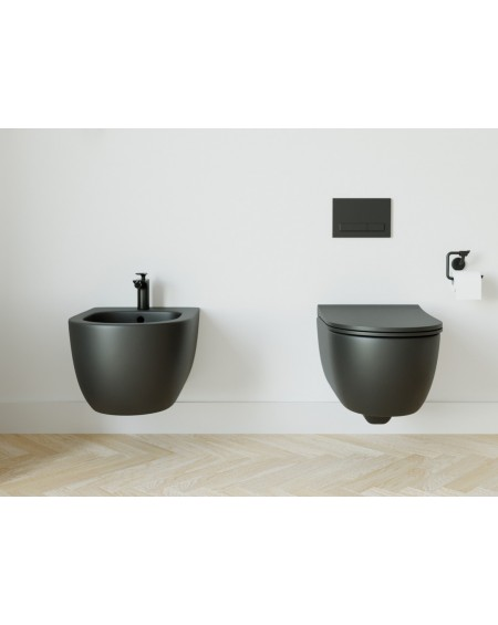 Závěsná barevná toaleta pure v barva černá matná