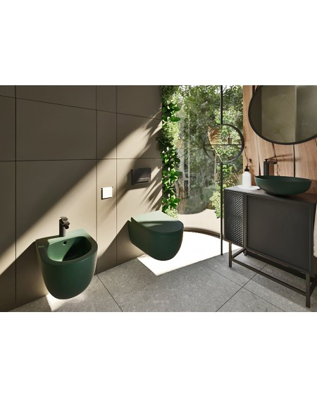 Závěsná barevná toaleta pure v barva zelená matná
