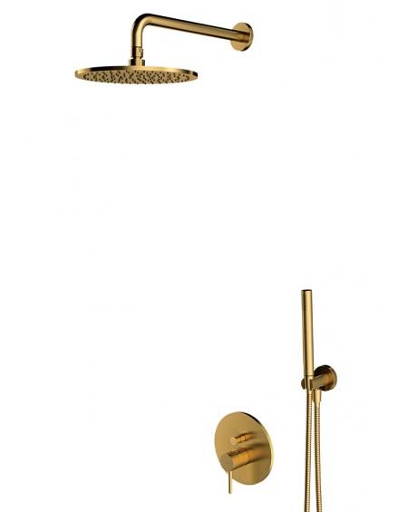 Zlatý sprchový podomítkový set baterie Y brushed Gold plus těleso