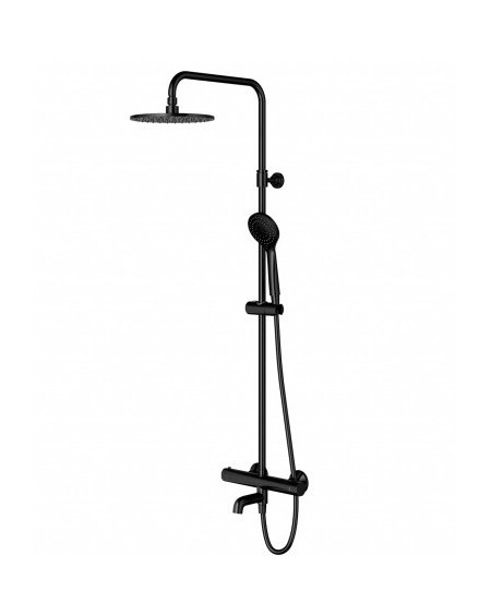 Černá matná termostatický sprchový vanový systém ze sprchou SYS LBL