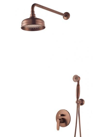 Vodovodní sprchový podomítkový set Art Deco starožitná měď