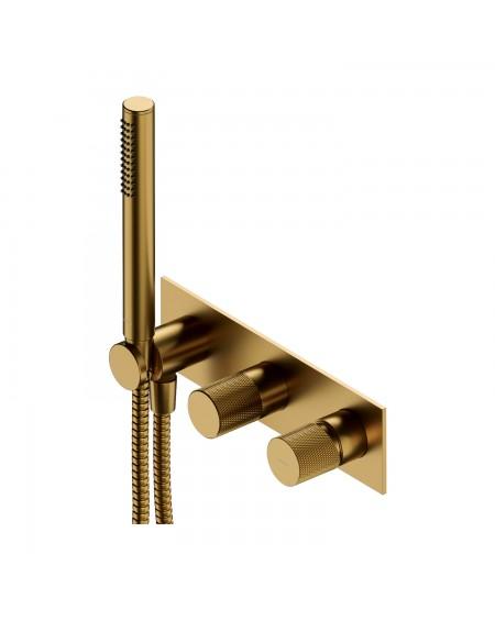 Zlatá polomatná vodovodní sprchová vanová baterie Contour Gold