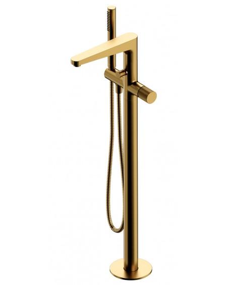 Zlatá polomatná vodovodní volně stojící vanová baterie Contour Gold