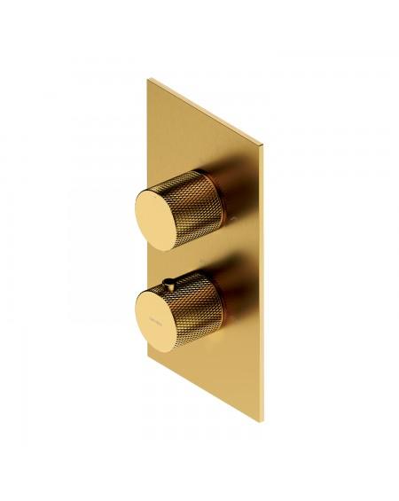 Zlatá polomatná sprchová vanová podomítková termostatická baterie Contour Gold