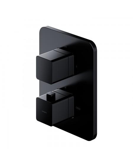 Černá matná sprchová vanová podomítková termostatická baterie Parma