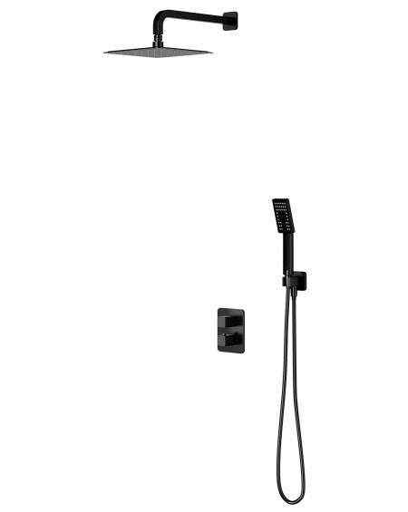 Černý matný podomítkový termostatický sprchový systém Parma