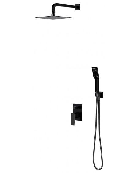 Černý matný podomítkový sprchový systém Parma