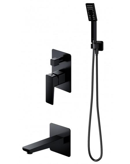 Černý matný podomítkový vanový sprchový systém Parma