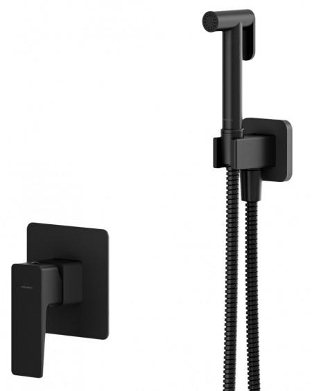 Černý matný podomítkový bidetový sprchový systém Parma