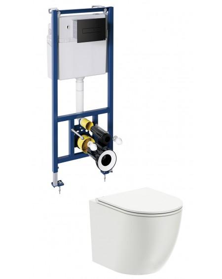 závěsná toaleta s podomítkovým modulem a ovladačm Black Ottava