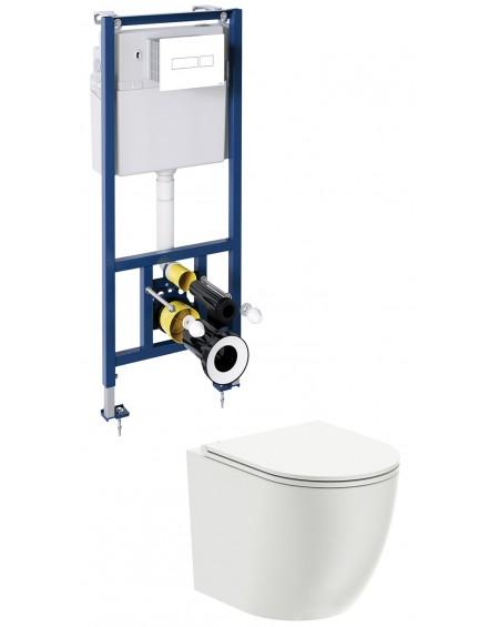 závěsná toaleta s podomítkovým modulem a ovladačm White Ottava
