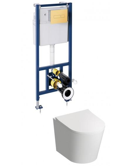 TAM závěsná toaleta s podomítkovým modulem a ovladačm Gold Tampa