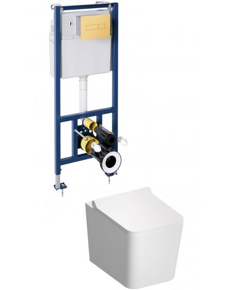BOS závěsná toaleta s podomítkovým modulem a ovladačm Gold Boston