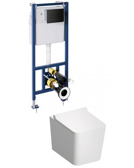 BOS závěsná toaleta s podomítkovým modulem a ovladačm Black mate Boston
