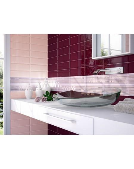 Obklad retro Loft Granate 10x30 cm výrobce Ape ceramica tvar briliant povrch lesk koupelna barva granátového jablka + rosa