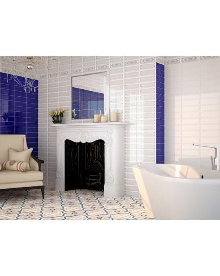 Obklad retro Loft Cobalto 10x30 cm výrobce Ape ceramica tvar briliant povrch lesk koupelna barva kobalt + Ambiente Loft