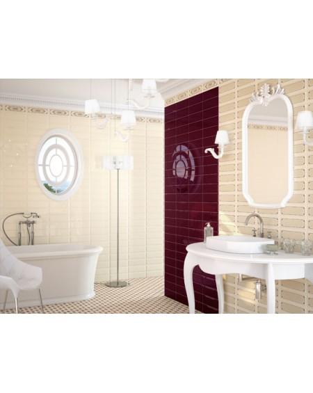 Obklad retro Loft Crema 10x30 cm výrobce Ape ceramica tvar briliant povrch lesk + koupelna barva Granate