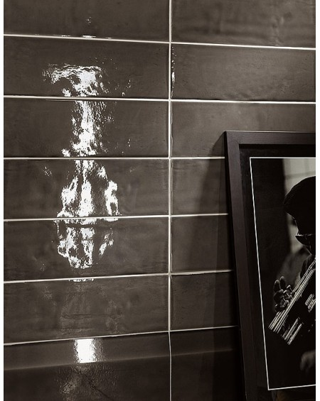 Koupelnové obklady retro 15x45 cm Chelsea brilo charcoal výrobce Settecento lesk