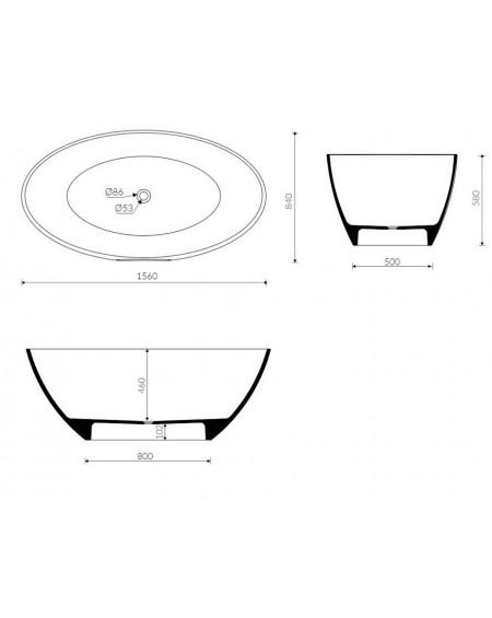 Vana z litého mramoru volně stojící oválná Selia 156x84x59cm bílá matná tech. Dokumentace