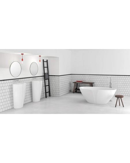 Koupelnový set z litého mramoru Selia 156 bílý lesk konglomerát mramoru Durocoat® super white cena za 1/ks umyvadlo